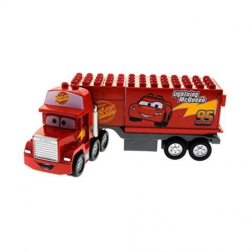 1 x Lego Duplo LKW Disney Cars rot Mack auf großer Fahrt mit Anhänger mit 95 Lightning Mc Queen Aufdruck Auto für Set 5816 89411pb01c01 (Lego-sets Cars Disney)
