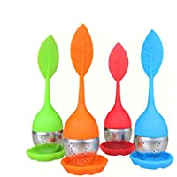 SwirlColor Set di 4 Allentato Leaf Tea infusore con Foglia silicone maniglia with filter Steel