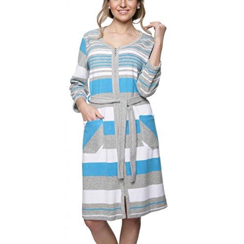 Damen Morgenmantel Kurz Leichter Sauna Bademantel mit Reißverschluss Frottee Baumwolle Streifen-Design, Farbe: Türkis, Größe: XL (Reißverschluss-frottee-bademantel)