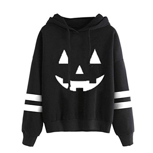 WOCACHI Damen Halloween Kapuzenpullover Mode Frauen Langarm Kürbisgrimasse gedrucktes Causal Schwarz Sweatshirt Hoodies Pullover Tops Bluse (L/38, Weiß)