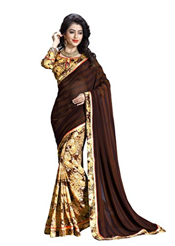 Oomph! Women's Georgette Sarees Party Wear/Fancy Printed Georgette Sarees/Half & Half Sarees