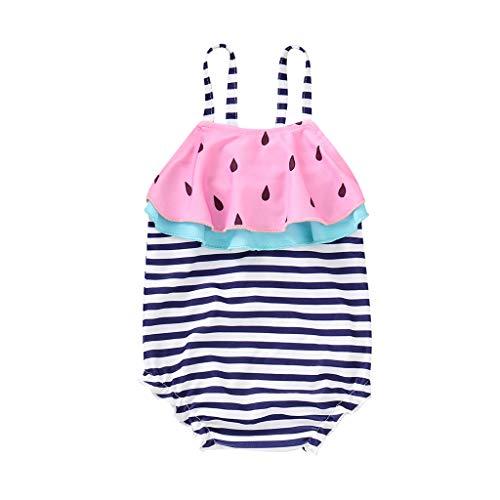 MOIKA Baby Mädchen Badeanzug für 3Monate-4Jahre, Kleinkind Baby Gir Bademode Wassermelone gestreifte Badebekleidung Strand Schwimmen Badestrand Strampler