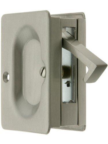 Premium Quality Mid-Century Pocket Door Passage Set In Satin Nickel. Pocket Door Hardware. by Emtek -