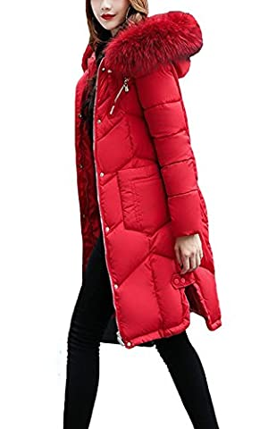 LANOMI Womens Winter Fur Collar Hooded Coat Quilted Jacket Ladies Long Down Cotton Puffer Parka (Size 2XL/UK 14, Red)