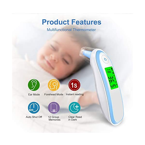 Ear and Forehead Thermometer, UERMEI Digital Medical Infrared Thermometer for Baby and Adults, Fahrenheit and Celsius Convertible, CE and FDA, Instant Read, Fever Warning, Mute Function (Blue)