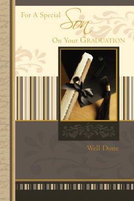 Traditionelle Scroll (Geburtstagskarte, Son On Your Graduation, traditionell, braun &und Kappe Gold Scroll 22.86 cm x 15.24 cm)