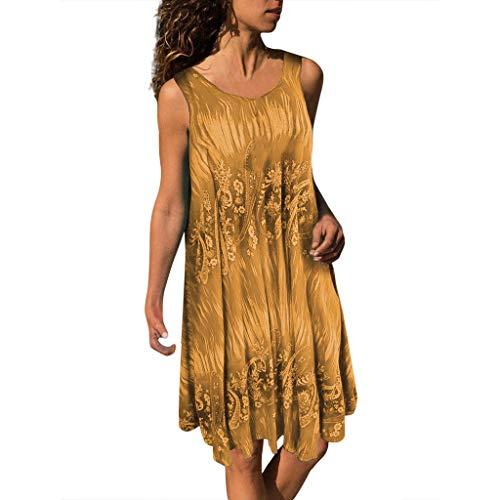 Fashion Womens Plus Size O-Neck Druck ärmellose Weste Easy Mini Dress