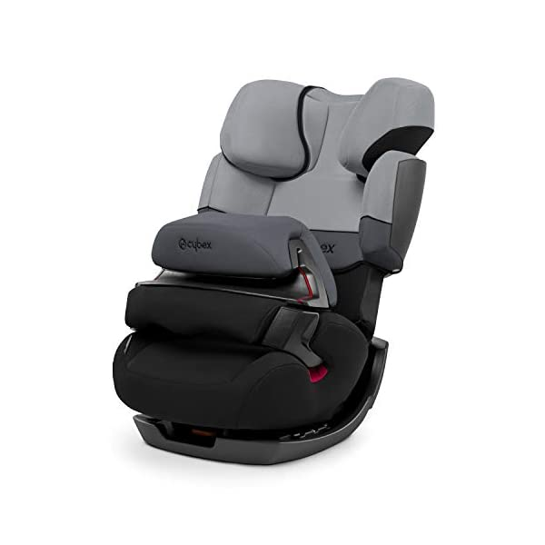 CYBEX Silver Pallas 2-in-1 Child's Car Seat, Group 1/2/3 (9-36 kg), From approx. 9 Months to approx. 12 Years, Cobblestone Cybex Sturdy and high-quality child car seat for long-term use - For children aged approx. 9 months to approx. 12 years (9-36 kg) Maximum safety - Depth-adjustable impact shield, 3-way adjustable reclining headrest, Built-in side impact protection (L.S.P. System) 11-way height-adjustable comfort headrest, One-hand adjustable reclining position, Easy conversion to Solution X-Fix for children from 3 years (group 2/3) by removing impact shield and base, Adjustable backrest 1