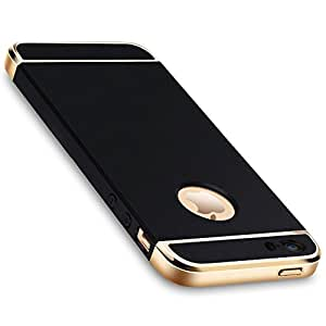 AccWorld High Quality 3 in 1 Gold Chrome Finish Shockproof Back Case Cover for Apple IPhone 5/5s ( Black)