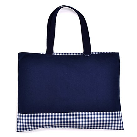 Kids lesson bag reversible type checking large, dark blue, dark blue canvas x made in Japan N0171600 Handmade sense (japan import)