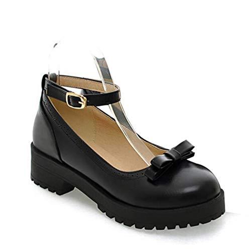 Frauen Einzel Schuhe Bow Lolita flachen Mund Mary Jane Schuhe Student High Heels Leder Pumps (Schuhe Heels High Jane Mary)