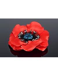 Broche para el pelo con flor de cintas amapola roja artesanal adorno original