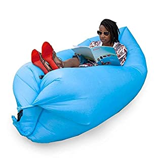 Aleko ILS01BL Inflatable Lounger Pool Float with Carrying Bag 70 x 30 Inches Sky Blue