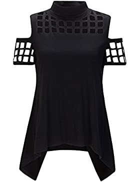 Beauty7 Camisas Mujeres Asim¨¦trico Sin Tirante Hueco Mangas Corta Camiseta Off Hombro Vestido Verano Blusas T-Shirt...