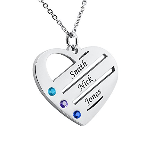 Tornado Personalisierte Herz-Halskette mit Geburtsstein, Edelstahl, personalisierbar mit 3 Namen, Edelstahl, Silber, 26mmx30mm (Geburtsstein Amazon Halskette)