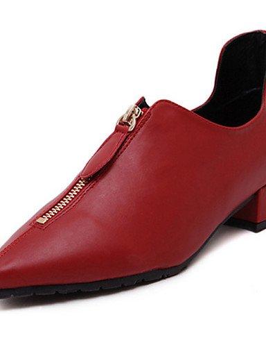 ZQ Scarpe Donna - Stringate - Casual - A punta - Basso - Vernice - Nero / Rosso / Grigio , red-us6 / eu36 / uk4 / cn36 , red-us6 / eu36 / uk4 / cn36 red-us6 / eu36 / uk4 / cn36