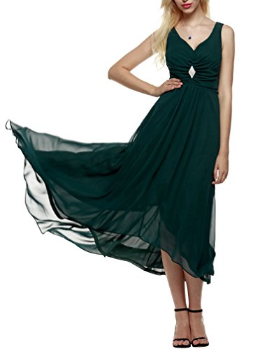 cooshional Damen Maxi Kleid V-Neck Ärmellos Abendkleid Chiffon lang Brautjungfernkleid Grün