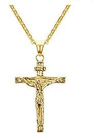 GGG Hombres de la joyería de la joyería de acero inoxidable de Jesús cruz collar colgante cadena con Encanto color oro
