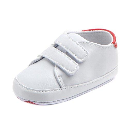 FNKDOR Baby Erste Schuhe Neugeborenen Lauflernschuhe Weiß Krabbelschuhe (12-18 Monate, Rot)
