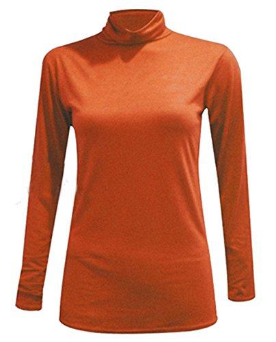 WearAll - Nouveau Dames Col roulé Manches Longues Extensible Top Jumper - Hauts - Femme - Tailles 36 - 42 ..Rust
