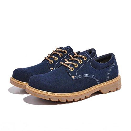 Heart&M kausale retro Lowcut Wildleder Leder/Arbeit/Skater Schuhe für Herren Blue
