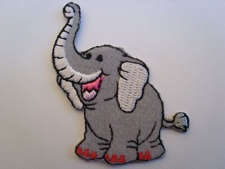 Afrika-patch (Elefant 4,6 cm * 5,2 cm Bügelbild Tier Elephant Zoo Zootier Afrika Aufnäher Applikation Patch)