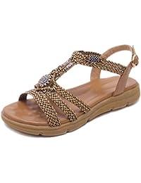 aa5b7fa9d Kaizi Karzi Mujer Moda Plano Sandalias Punta Abierta Zapatos De Verano  Bohemia Sandalias