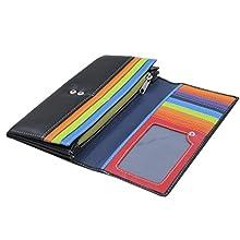 Rallegra Ladies Black Leather Purse, RFID Blocking, Holds 14 Cards, 4 Storage Pockets, Zip Coin Pocket, Multicoloured Interior