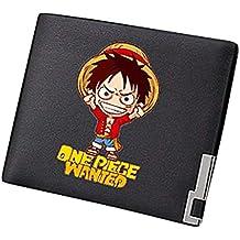 Cosstars One Piece Anime Cartera Cuero Artificial Billetera Hombre  Portatarjetas Slim Wallet 3fa8eeeec6d