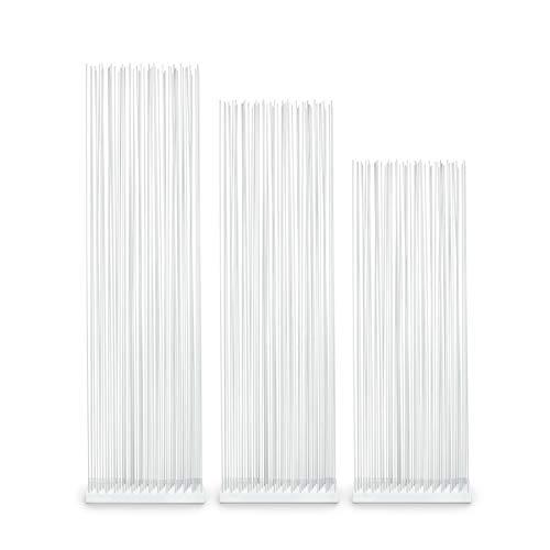 Skydesign Weißer Raumteiler - 145 cm hoch - Weiße Basis Polyethylen - Weiße Fiberglas Sticks - Sichtschutz Trennwand Dusche - Niedriger Raumteiler - Sichtschutz modern Paravent weiß - Weiß (Fiberglas Dusche Basis)
