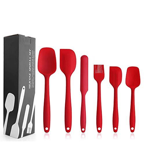 EKKONG Espátulas de Silicona Paleta Utensilios Cocina, Protección del Medio Ambiente, No Tóxico, Antiadherente, Resistente al Calor, 6 Piezas (Rojo)