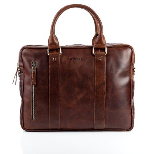 """STOKED Aktentasche NATHAN - Laptoptasche groß fit für 15,4"""" - Businesstasche mit Schultergurt echt Leder braun-cognac"""