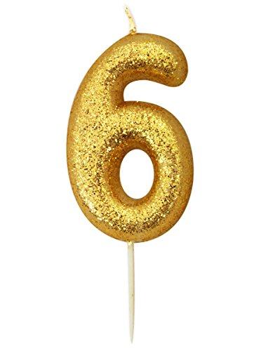 Gold Number Candle - 6 (Geburtstagskerzen Zahl 6)