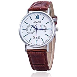 Men Wrist Watches - HUANS Men Rome digital Article Leather Band Quartz Wrist Watches Brown Band+Silver Dial