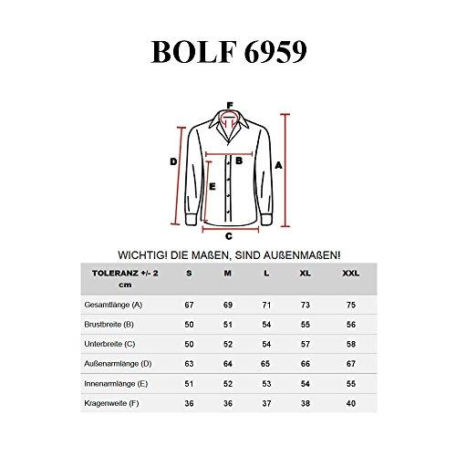 BOLF – Chemise casual à carreaux – avec manches longues – Slim fit – BOLF 6959– Homme Marron