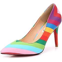 SUNROLAN Damen Schuhe High Heel Pumps PU Leder Elegant Stilettoabsatz Party Arbeit Abend Mehrfarbig-Rot 35