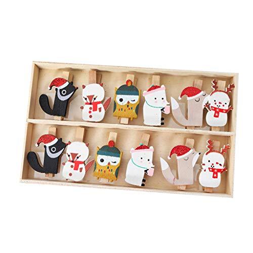Weihnachtsschmuck Holz Cartoon Wäscheklammern Weihnachtsbaum Dekoration Zubehör Einzelne Länge ca. 4,5 cm (1 Packung 12)