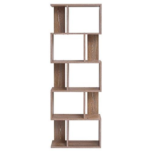 Mobili rebecca libreria scaffale 5 ripiani legno marrone arredo contemporaneo salone ufficio (cod. re4789)