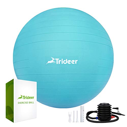 Trideer antiscoppio e Antiscivolo Esercizio Ball con Pompa Rapida, Palla da Yoga, 55 cm/65 CM/75 cm/85 cm Birthing Ball, Spessore Extra Heavy Duty Ball Chair, Turkis New, 65cm (Fits 1.62-1.79m)