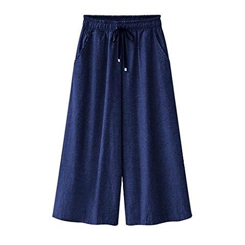 Keepwin Womens Wide Leg Cropped Capris Elastic Waist Causal Culottes