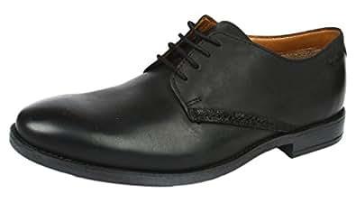 Clarks Novato Plain, Herren Derby Schnürhalbschuhe, Schwarz (Black Leather), 42 EU