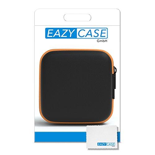 EAZY CASE Universal Tasche für In-Ear Kopfhörer mit Netzfach - Hardcase Aufbewahrungsbox, Schutztasche mit umlaufenden Reißverschluss, extra klein, eckig, Orange - 4