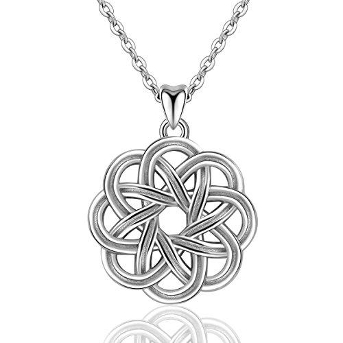 Eudora Retro 925 Sterling Silber Keltischer Knoten Anhänger Vintage Schmuck Glücksbringer Halskette für Frauen Damen, Kette Silber 45,7cm (Alten Keltischen Kostüm)