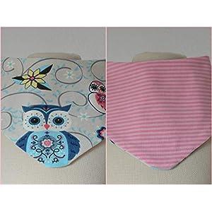 Baby Wende Lätzchen Halstuch Eulen rosa/gestreift creme beige Mädchen 0-3 Jahre