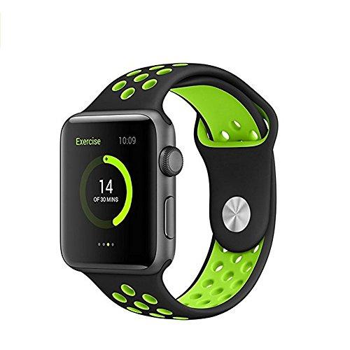 Produktbild kokome Apple Armbanduhr Accessoris Soft Band Strap Silikon Smart Watch Band Wrist Strap, enthaltet keine Apple Watch(42 mm,  schwarz / grün)