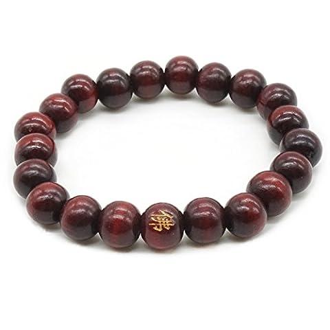 8MM Bouddha Perles en Bois Médaillé Santal Meditation Prière en Bois Naturel Mala Hommes, Femmes Bracelet
