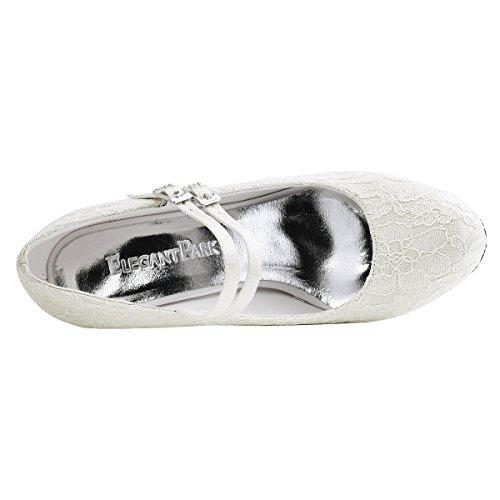 ElegantPark HC1708 donne chiuse a piede Med Heel Mary Jane pattini pizzo abito da sposa scarpe da sera Argento