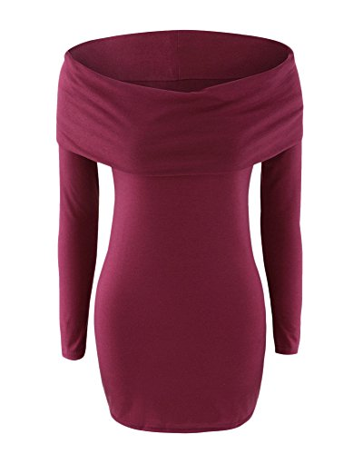 Femme Robe Extensible Longues Manches Revers Slim Fit Robe Pull Vin rouge