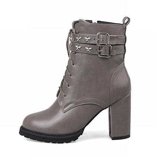 Mee Shoes Damen warm gefüttert chunky heels Plateau Stiefel Grau