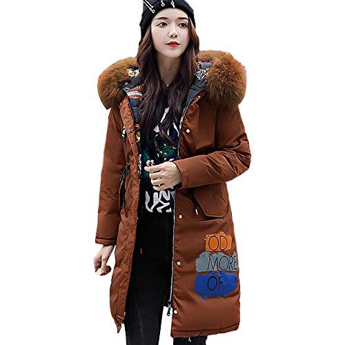 IZHH Damen Mantel Weihnachtsfrauen Oberbekleidung mit Kapuze beide Seiten zu Tragen und der Buchstabe Lange Jacken Pocke Lange Baumwollauflage Taschen Buchstabe Jacke(Braun,Medium)